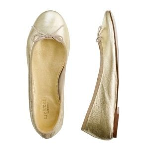 Crewcuts gold leather ballet flat, size 4